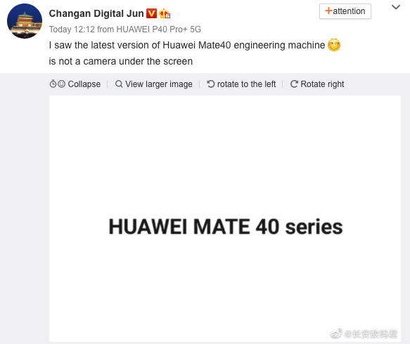 Huawei Mate 40 may not feature under-screen camera-cnTechPost